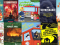 Collage of fire safety books