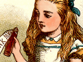 """detail from an illustration of Alice holding the """"drink me"""" bottle"""