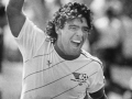 Diego Maradona celebrates his winning penalty kick as The Americas beat The Rest Of The World, 6-5, at the Rose Bowl on July 28, 1986