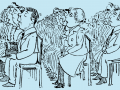 illustration by Basil T. Blackwood shows a seated audience looking attentive