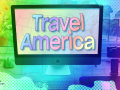 Photo illustration/composite of  US map and computer desk. Computer screen has title Travel America