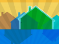 blue, green and yellow houses illustration