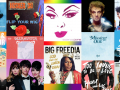 Collage of albums by LGBTQIA artists