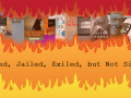red orange yellow flames with banned books