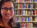 a librarian using a library photo as virtual background