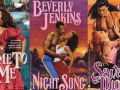 three examples of romance book cover art featuring couples embracing passionately