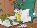 a very sleepy bugs bunny getting out of bed