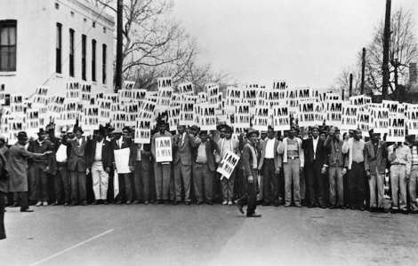 Ernest C. Withers. Sanitation Workers Assembling for a Solidarity March, Memphis, March 28, 1968. National Museum of African American History and Culture, Smithsonian Institution.