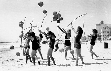 Young ladies enjoying one of several summer activities that took place at Santa Monica beach.