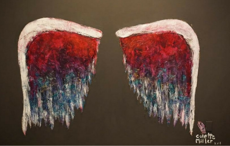 Visitors can pose with a pair of painted wings in the exhibit and share their photos on social media: #ShowUsYourWings