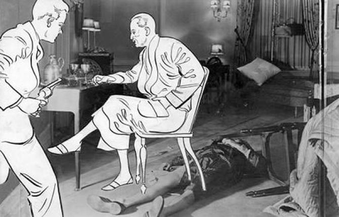 Theory of Doheny Greystone Tragedy illustrated, 1929