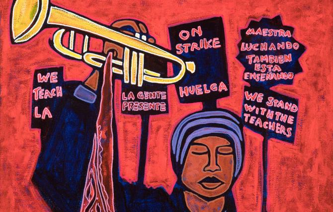 Jose Ramirez, Strike Music Teacher, 2019, técnica mixta sobre lienzo, cortesía del artista