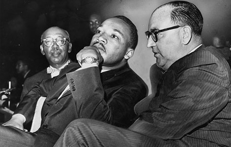 Martin Luther King and Governor Edmund G. Brown during a Freedom Rally at the Los Angeles Sports Arena on June 18, 1961.