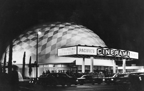 The Cinerama Dome (1963) shown at the time of its opening. The geodesic dome, built as a prototype Cinerama, a widescreen projection process, was threatened with demolition in 1998. (Security Pacific National Bank Collection)
