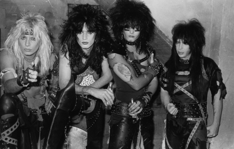 """""""Mötley Crüe,"""" 1983 – Gary Leonard Collection.  Donning war paint and ready to conquer the world , Mötley Crüe led the first of the wave of 1980s heavy metal bands on the Sunset Strip and were the first to achieve major national success."""
