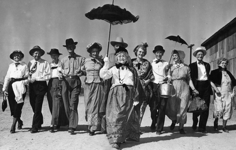 North Hollywood's Pioneers proudly display their costumes as they prepare to descend upon their annual picnic. October 18, 1948.