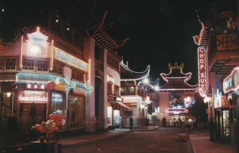 """Constructed after the demolition of the city's original Chinatown district, """"New Chinatown"""" was a pre-Disneyland Adventureland of souvenir stands and daring restaurants. (1940s, Security Pacific National Bank Collection)"""