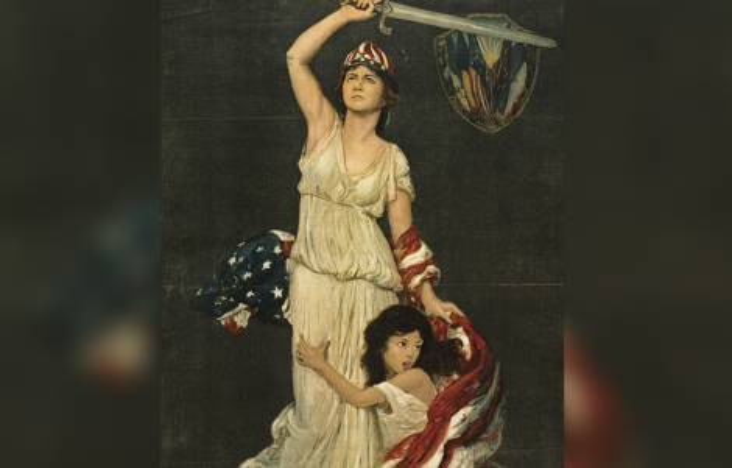 Girl, symbolizing Near East, clinging to woman with sword and U.S. flag, symbolizing America / Douglas Volk (1918).