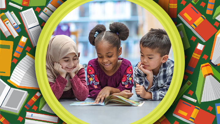 three kids reading a book in the library