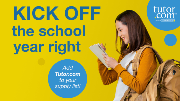 a school age girl wearing a backpack and writing on a note pad with text that reads kick off the school year right