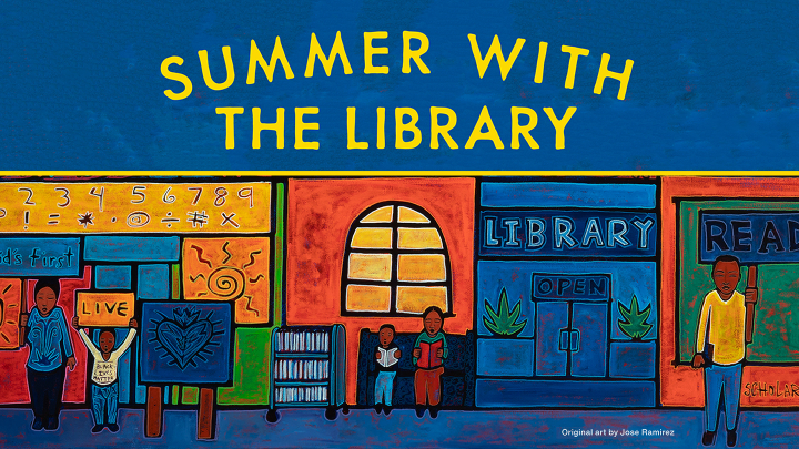Text that reads summer with the library