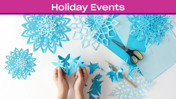blue and white paper snowflake cut outs