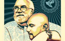 Father Gregory Boyle hugs a former gang member in this poster created by Shepard Fairy