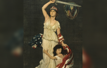 Girl, symbolizing Near East, clinging to woman with sword and U.S. flag, symbolizing America
