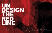 Two people using interactive display with text reading Undesign the Redline, Interactive Exhibit