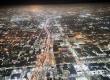 Aerial shot of Los Angeles at night