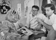 Writer and co-creator Tom Patchett, left, and voice actor Paul Fusco, right, are confronted with last-minute script changes from star ALF.