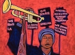 José Ramirez, Strike Music Teacher, 2019, mixed media on canvas, courtesy of the artist