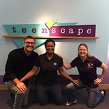 3 jpl scientists in front of teenscape sign