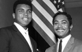 Mervyn Dymally (right) meets Muhammad Ali (left) at a Compton NAACP meeting in 1966.