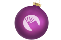 purple ornament with the library's logo