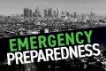 Emergency Preparedness with skyline of Los Angeles in background