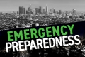 Emergency Preparedness with skyline of Los Angeles in background