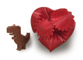 2 small 3D-printed objects: a dinosaur and a heart