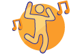 icon of a person dancing and music notes