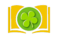 Icon of a book with an icon of a 4 leaf clover