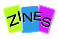 """Icon of zines with the text """"ZINES"""" overlaid"""