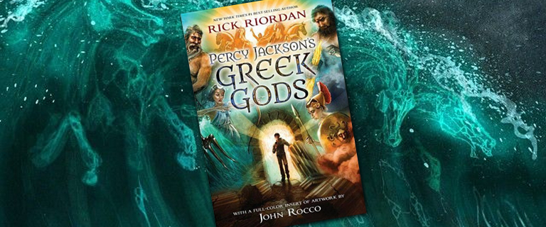 tidal wave with the book cover for Percy Jackson's Greek gods