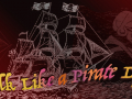 Dark pirate ship on the sea with words Talk Like a Pirate Day