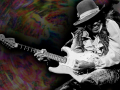 Jimi Hendrix on a psychedelic background