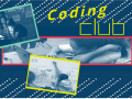 """placed over a mainly navy blue background are the yellow words """"Coding Club"""" and three black and white photographs of teens working on coding projects"""