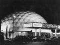 The Cinerama Dome (1963) shown at the time of its opening. The geodesic dome, built as a prototype Cinerama, a widescreen projection process, was threatened with demolition in 1998.