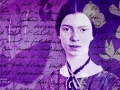 Collage of American poet Emily Dickinson and her letters, poems and pressed flowers.