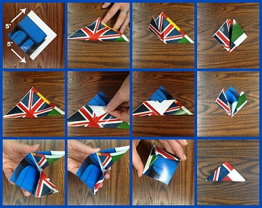 A photo collage demonstrating how to make a triangle origami bookmark
