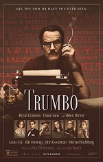 A man with glasses and a moustache sits in front of a typewriter. Movie poster.