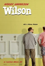 Two men at a public urinal with their backs to us, one man is looking at the other. Movie poster.